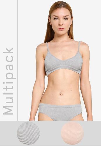 Cotton On Body grey 2 Packs Seamfree Triangle Bralettes 05995US0513B48GS_1