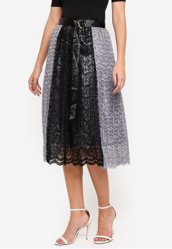 bYSI black Two Tone Lace Skirt EED32AA7536286GS_1