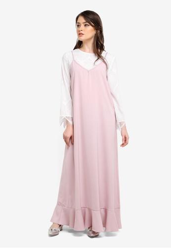 Zalia pink Frill Hem Slip Dress with Lace Top 42E7AAAF1882DBGS_1
