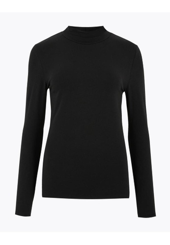 MARKS & SPENCER black M&S Cotton Funnel Neck Fitted Long Sleeve Top 25A45AA951AE7AGS_1