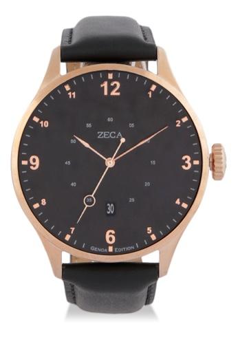 ZECA black and silver Zeca Watches Men Fashion Leather Analog - 2016MB Black Rosegold ZE074AC0WDACID_1