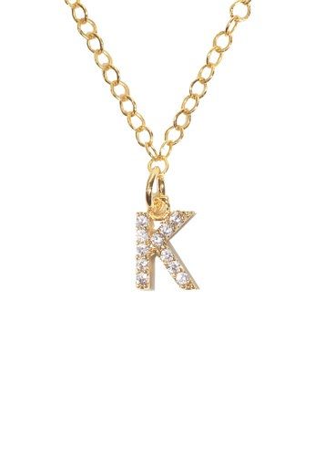 PSYNDROME gold Personalised Initial Letter Alphabet Cubic Zirconia Necklace - K D4E29ACACA6C89GS_1