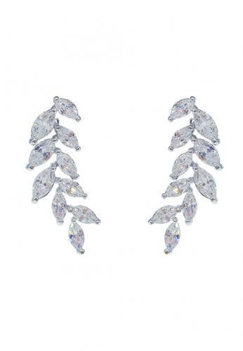 Her Jewellery white and silver Leafy Earrings HE210AC0FVFOSG_1