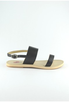 ZC Ceres All Two Part Black Leather Sandals