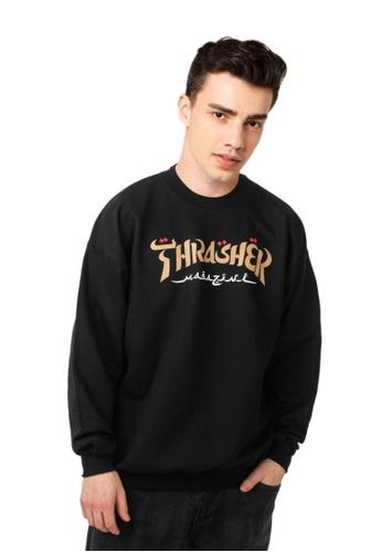 THRASHER black Thrasher Calligraphy Crewneck Black AA5BBAA52AB880GS_1
