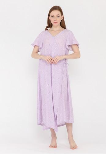 La Rosa white and purple La Rosa Petite Purple Flower Long Dress Daster Tidur Wanita 858C5AAB1094C8GS_1
