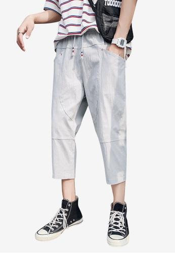 hk-ehunter grey Men Solid Colored Drawstring Fasten Calf-Length Pants B81FBAACA94334GS_1