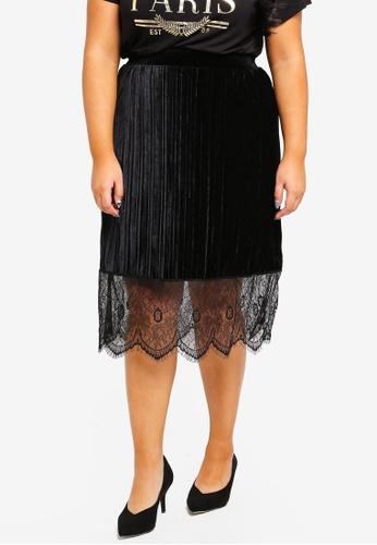 Junarose black Plus Size Rumba Midi Skirt 6BA09AAF03B086GS_1