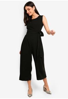 1c21e6667ea FORCAST black Francesca Tie Waist Jumpsuit 6D7E2AA8658741GS 1