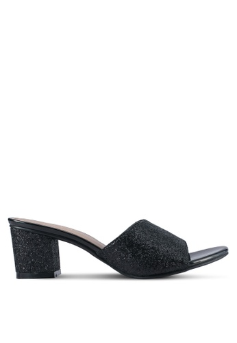 Spiffy black Glitter Mule Block Heels SP352SH0SRY2MY_1