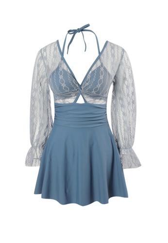 YG Fitness blue Sexy Gauze Open Back One-Piece Swimsuit E6FF5USDBAA697GS_1