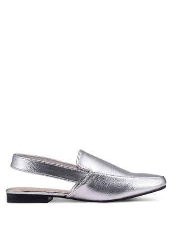 Something Borrowed silver Sling Back Faux Leather Flats 0ED6CSH345B357GS_1