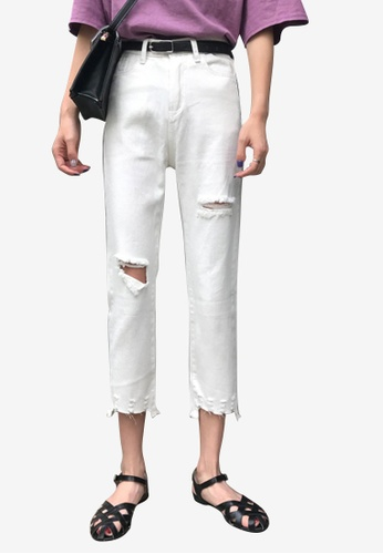 Lara white Women Rips Ankle-length Pants 93E7CAA39A2E2EGS_1