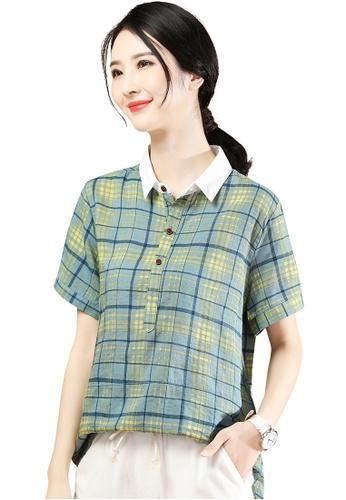 A-IN GIRLS green Fashion Lapel Checkered Blouse 1DB13AA251849DGS_1