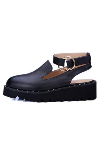 Sunnydaysweety black Buckle Heavy-bottomed Leather Boat Shoes UA030111BK SU443SH11LZSHK_1