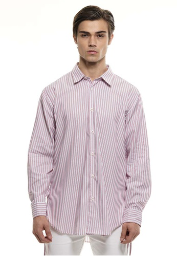 Private Stitch red Private Stitch Men Casual Long Sleeve Oversized Cotton Stripe Shirt 3E66BAAC8D478AGS_1