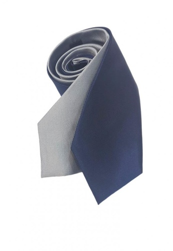 Well Suited blue and silver Two Piece Microcheck Necktie Combo 5 8D719ACC6FAAE8GS_1