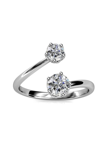 Her Jewellery white Birth Stone Ring (April) - Made with premium grade crystals from Austria 14FDEACF96955DGS_1