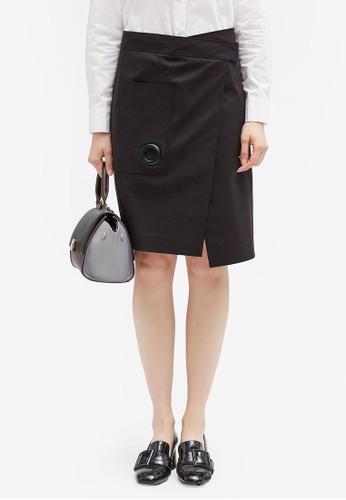 Hopeshow black High Waist Slit Skirt D909FAA120967EGS_1