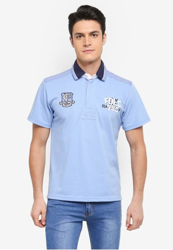Fidelio blue Embroidery and Patches Casual Polo Tee 87BAAAAF21867BGS_1