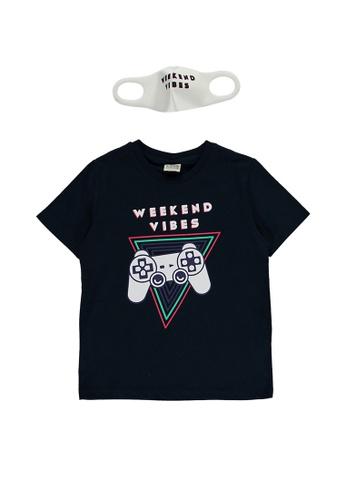 LC Waikiki navy Boy's? Printed T-Shirt And Mask 0412EKAC26FE45GS_1