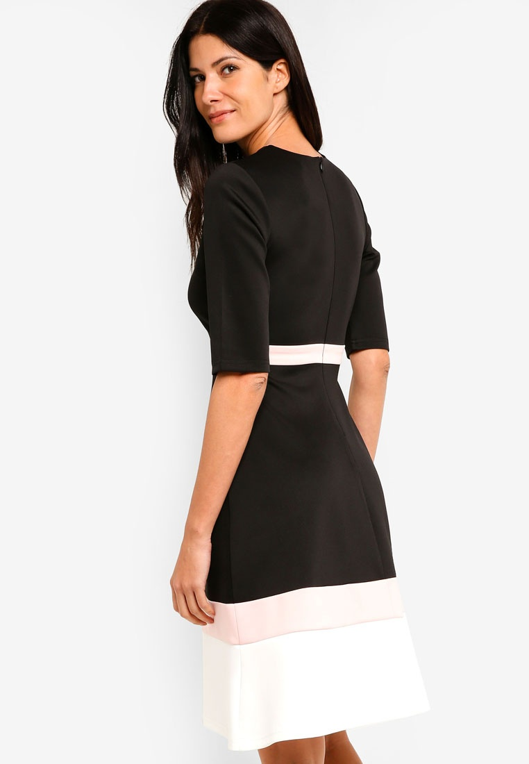 Color Midi Blush Dress White Black ZALORA Block RR5wqr