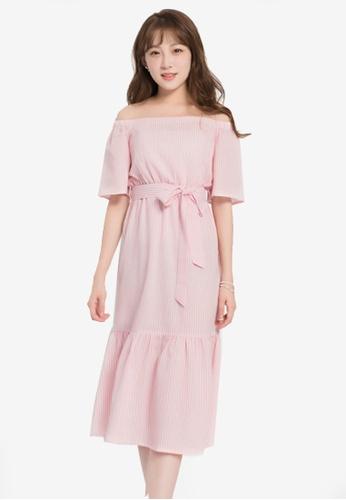 Yoco pink Striped Off-Shoulder Dress 5E872AAEE79504GS_1