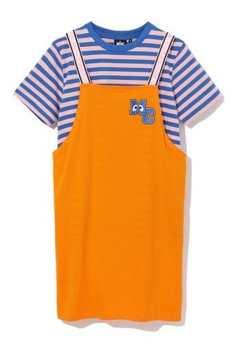 Mini cream black Stripe dungaree t-shirt set 3C159AAB00EF4AGS_1