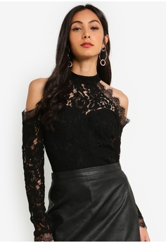fbdb672083230 MISSGUIDED black Corded Lace Cold Shoulder Bodysuit 351BEAAA495BABGS 1