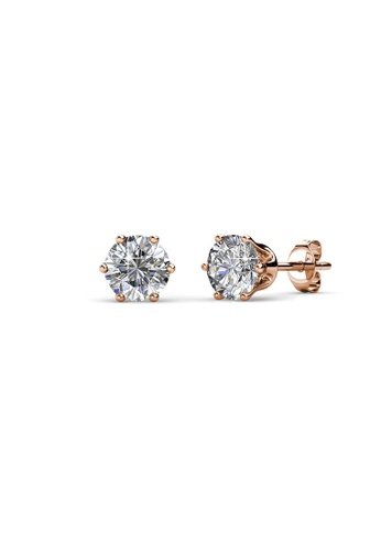 Her Jewellery white and gold Birth Stone Earrings (April, Rose Gold) - Made with premium grade crystals from Austria B85E9AC0CD895CGS_1