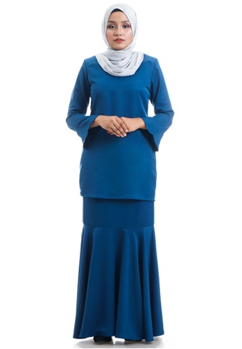 Ashura blue and navy Faeyza Kurung With Bell Sleeves 921F2AAA28C860GS_1