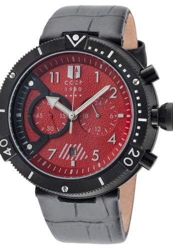 CCCP black CCCP Men's Black Genuine Leather Watch - CP-7005-04 004A6ACBE53DAAGS_1