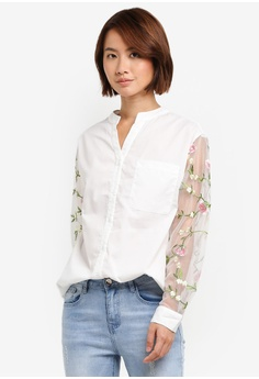 ZALORA white Oversized Shirt With Floral Embroidery Sleeve  CF816AA8D915EAGS_1