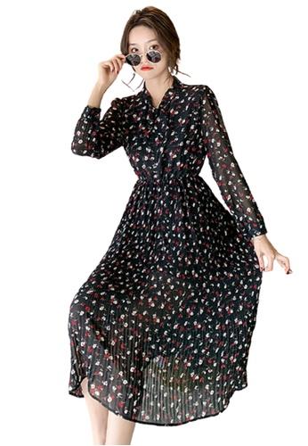 Halo black Printed Pleated Dress 2C3DDAA3995A5BGS_1