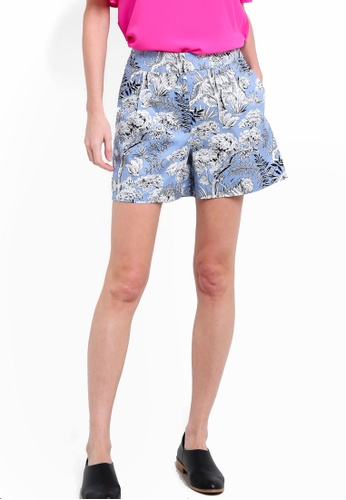 WAREHOUSE blue Tiger Print Shorts WA653AA71LDSMY_1