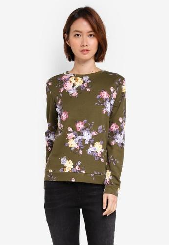 OVS green Floral Sweatshirt CF93CAA18E20B2GS_1