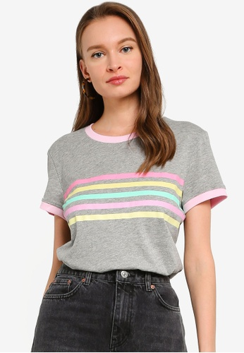Brave Soul grey Rainbow Stripes Ringer T-Shirt 3F660AA98EFC67GS_1