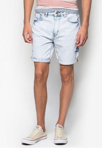 水洗反折丹寧短褲, 服飾, 短zalora 手錶褲