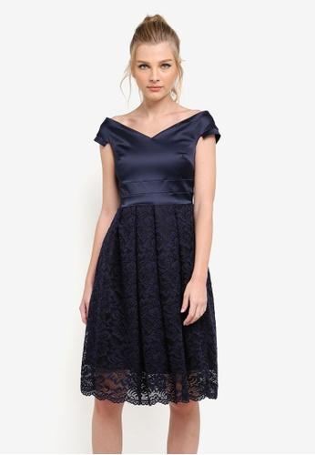 Vesper navy Zoe Full Lace Skirt Midi Dress VE733AA0S786MY_1