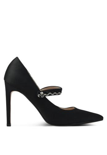 Velvet black Strap Detail Heels 94D3FSH92C8C08GS_1