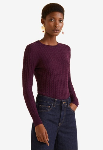 Mango purple Cable-Knit Sweater 9274DAA38998BFGS_1
