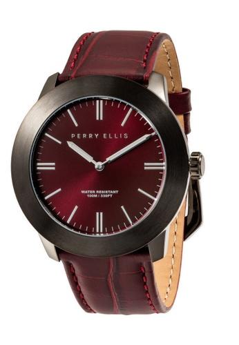 PERRY ELLIS red Perry Ellis Slim Line Men 46mm Quartz Watch 03007-01 C5F07AC38ABEC3GS_1