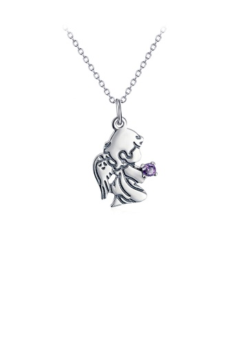 Glamorousky purple 925 Sterling Silver Fashion Simple Angel Pendant with Purple Cubic Zirconia and Necklace D2741AC6F8EB26GS_1