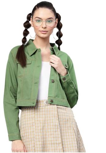 SASSAFRAS green Olive Denim Crop Jacket 24CFCAAA900273GS_1