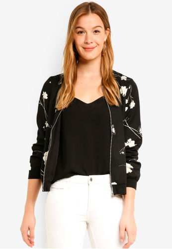 Vero Moda black Zitta Long Sleeve Bomber Jacket 802A0AA9B746A9GS_1