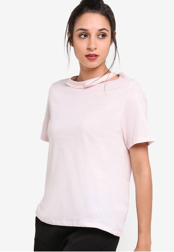 TOPSHOP pink Choker Neck Slash T-Shirt TO412AA13NSKMY_1