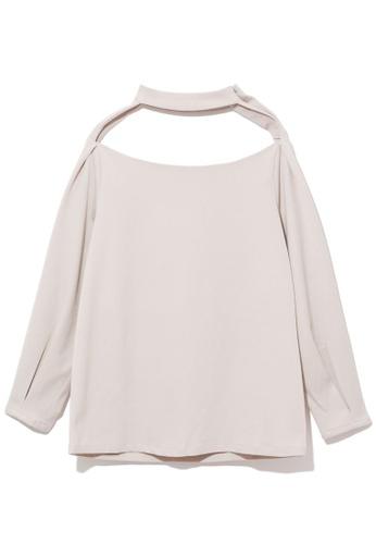 GREENISHPINK white Cutout collar top. 2E3A1AA37E7546GS_1