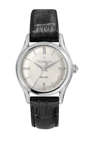 Trussardi black T-Light Quartz Watch Black Leather Strap R2451127004 2A701AC963D4ACGS_1