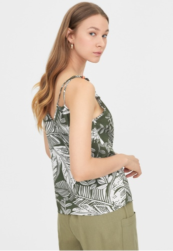 Pomelo green Double Beaded Strap Leaf Print Top - Green F1C29AA7E4726BGS_1