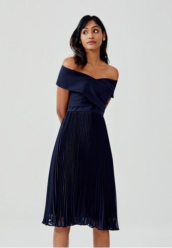 Love, Bonito blue Ivanki Pleated Off Shoulder Midi Dress ABA54AADE11775GS_1
